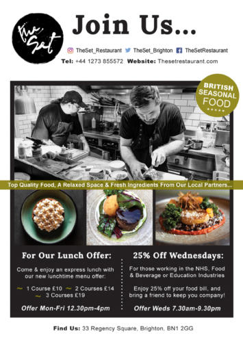 The Set Restaurant, Brighton - Magazine Display Advertising